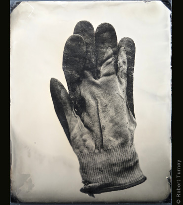 Glove 02 wet plate photo by photographer Robert Turney