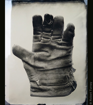 Glove 11 wet plate photo by photographer Robert Turney