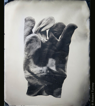 Glove 14 wet plate photo by photographer Robert Turney