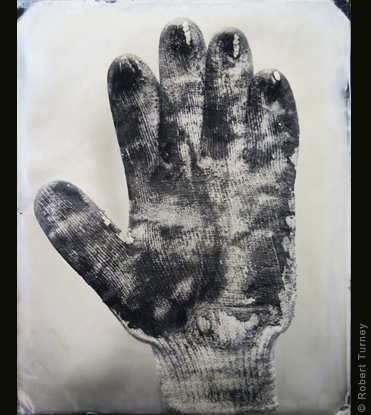 Glove 16 wet plate photo by photographer Robert Turney