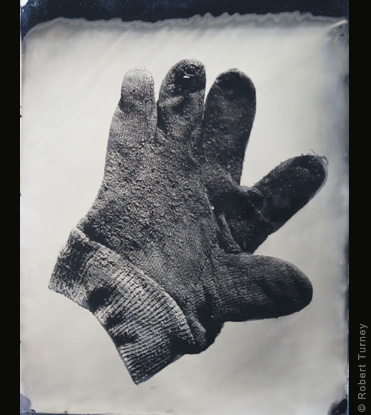 Glove 17 wet plate photo by photographer Robert Turney