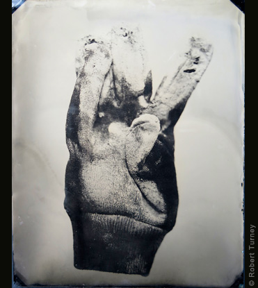 Glove 21 wet plate photo by photographer Robert Turney