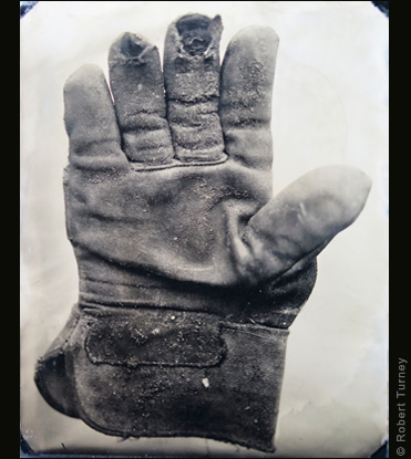 Glove 24 wet plate photo by photographer Robert Turney