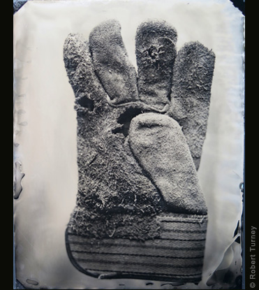 Glove 25 wet plate photo by photographer Robert Turney