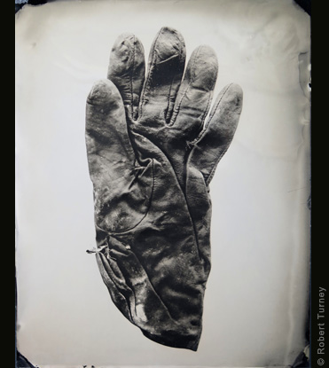 Glove 27 wet plate photo by photographer Robert Turney