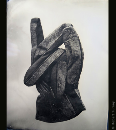 Glove 28 wet plate photo by photographer Robert Turney