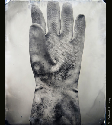 Glove 29 wet plate photo by photographer Robert Turney