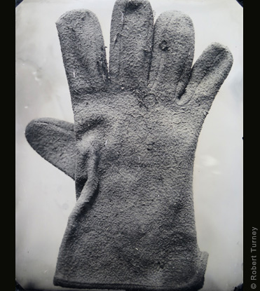 Glove 36 wet plate photo by photographer Robert Turney