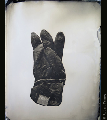Glove 38 wet plate photo by photographer Robert Turney