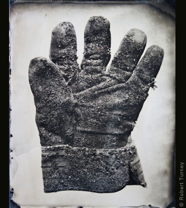 Glove 41 wet plate photo by photographer Robert Turney