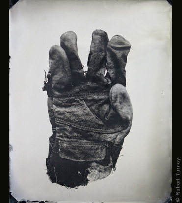 Glove 42 wet plate photo by photographer Robert Turney